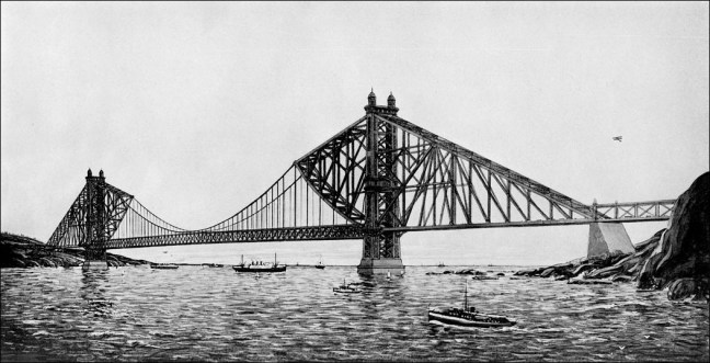 The original 1922 design for the Golden Gate Bridge by architect Joseph B. Strauss, who said it could be built for $17,250,000 and opened by 1927. The final cost was almost exactly twice as much and took until 1937 to complete. Most of the credit for the appearance we know today goes to Charles Ellis, who was the prime designer of the bridge 1929-1931