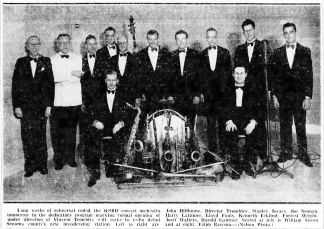 KSRO Orchestra. Santa Rosa Republican, September 18, 1937