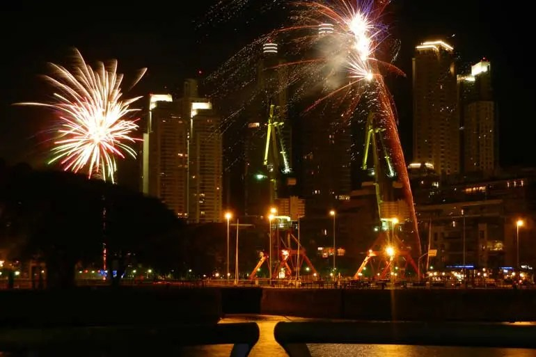 Fireworks in Puerto Madero