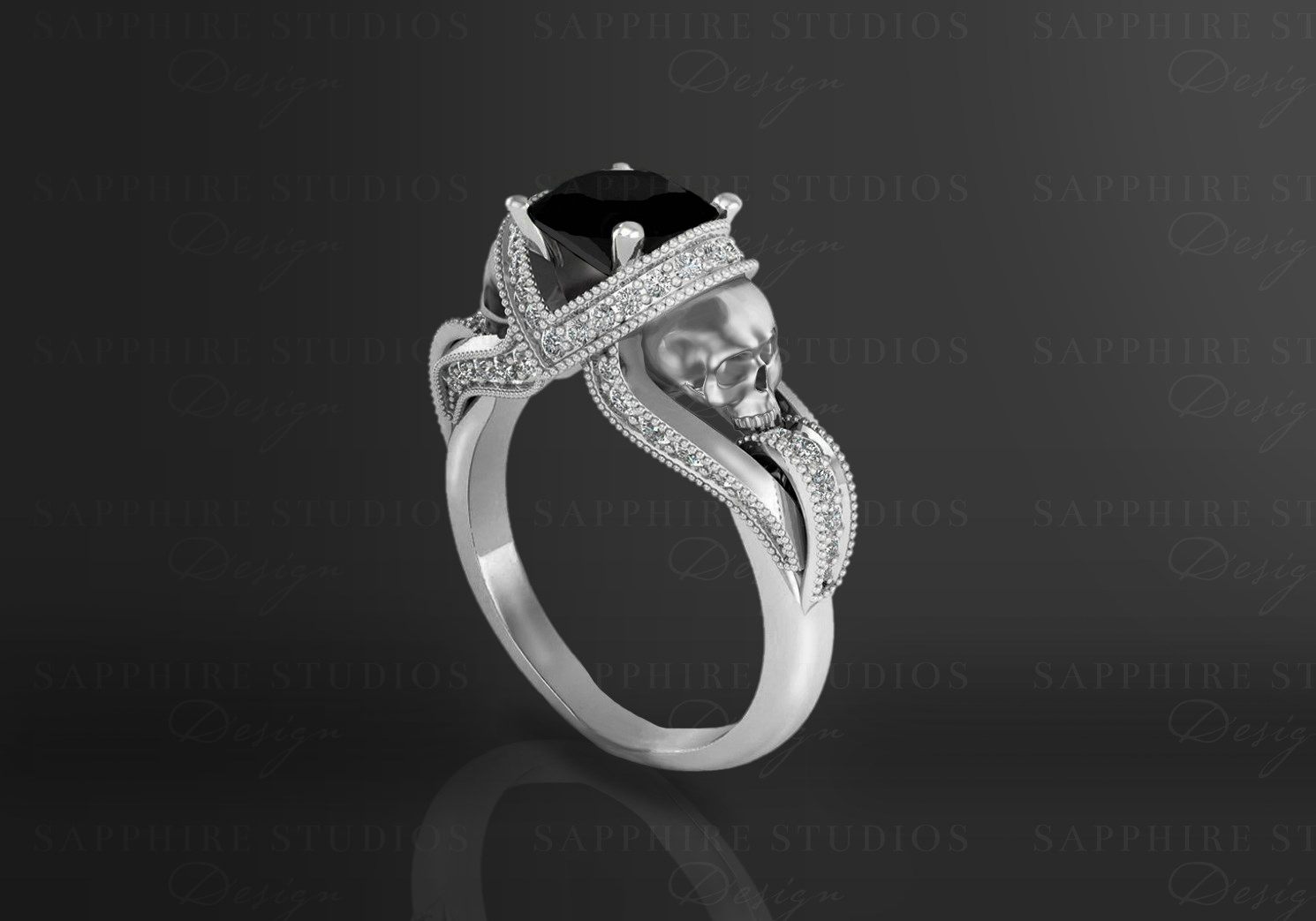 Black Diamond Black Diamond And White Diamond Skull Engagement Ring