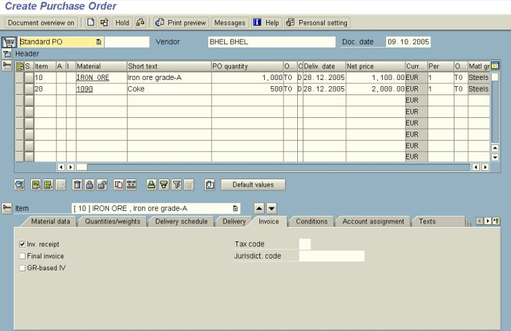 Creating a Purchase Order in SAP - Transaction ME21N - SAP Stack