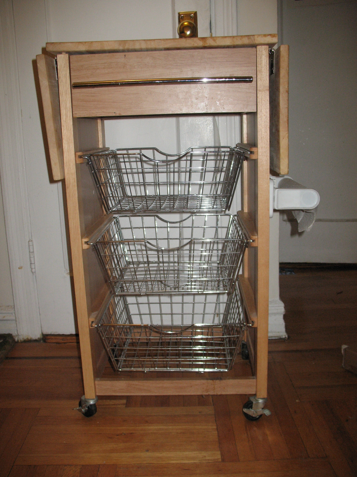Printer Table Ikea Cutting Board Table With Wire Basket-drawers | Sarah And