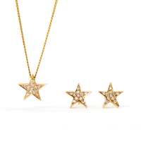 18ct Yellow Gold Star Earrings and Necklace  Sara Hartley