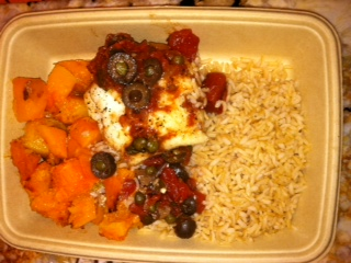 fish with Mediterranean sauce, butternut squash, and a TON of brown rice.