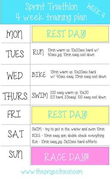 triathlon 4 week training program