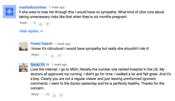 yotube pregnancy comments haters