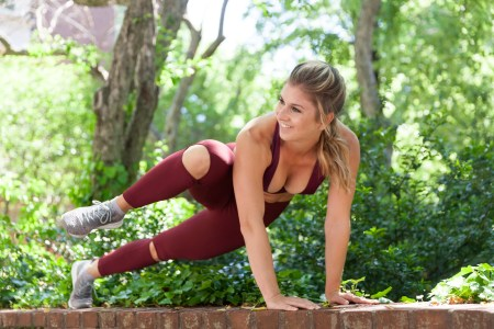 Sarah Fit Plank Maroon Pose