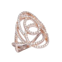 Rose Gold Plated Cubic Zirconia inlaid Silver Ring ...