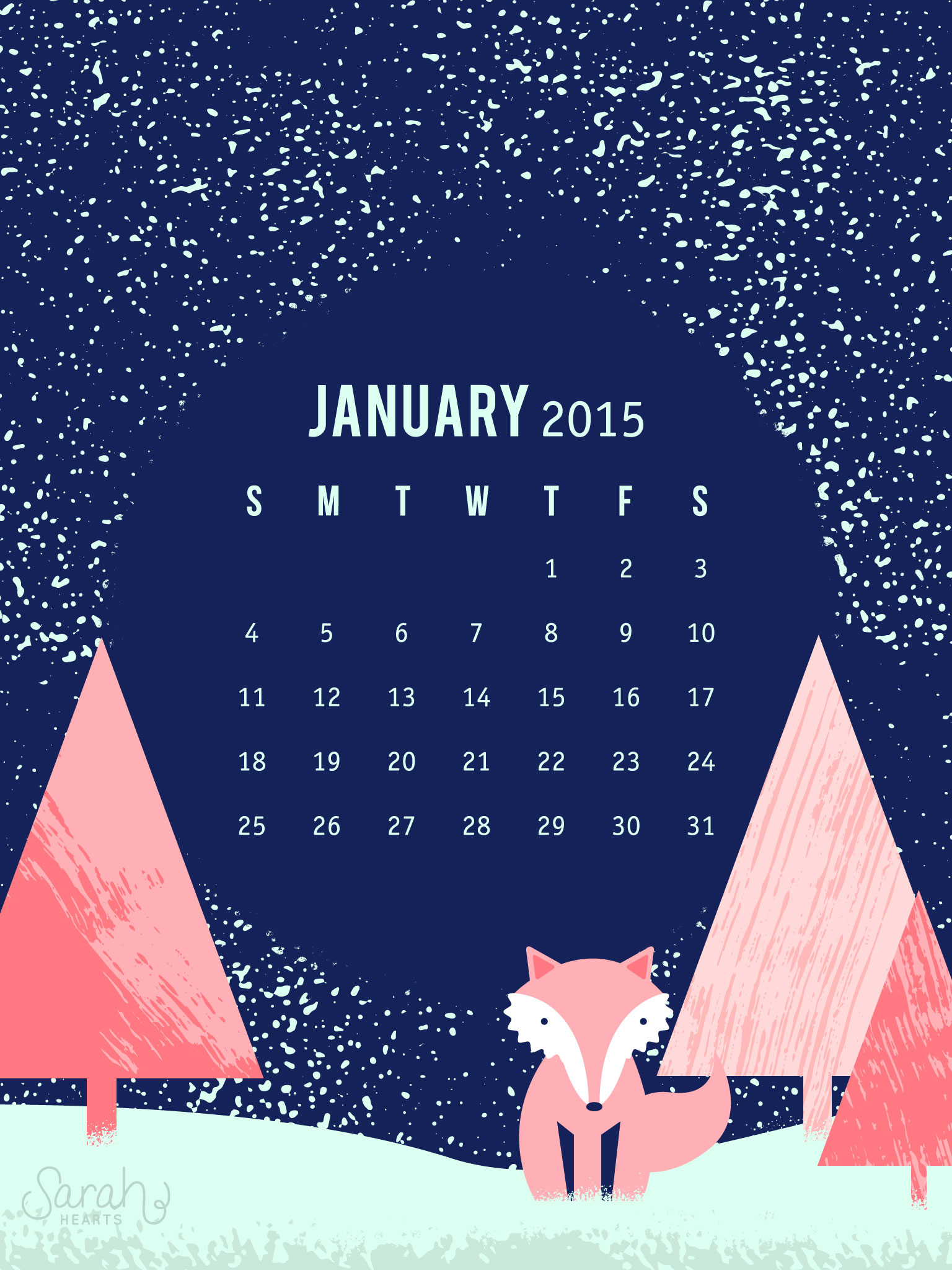 Cute November Calendar Wallpaper January 2015 Calendar Wallpaper Sarah Hearts