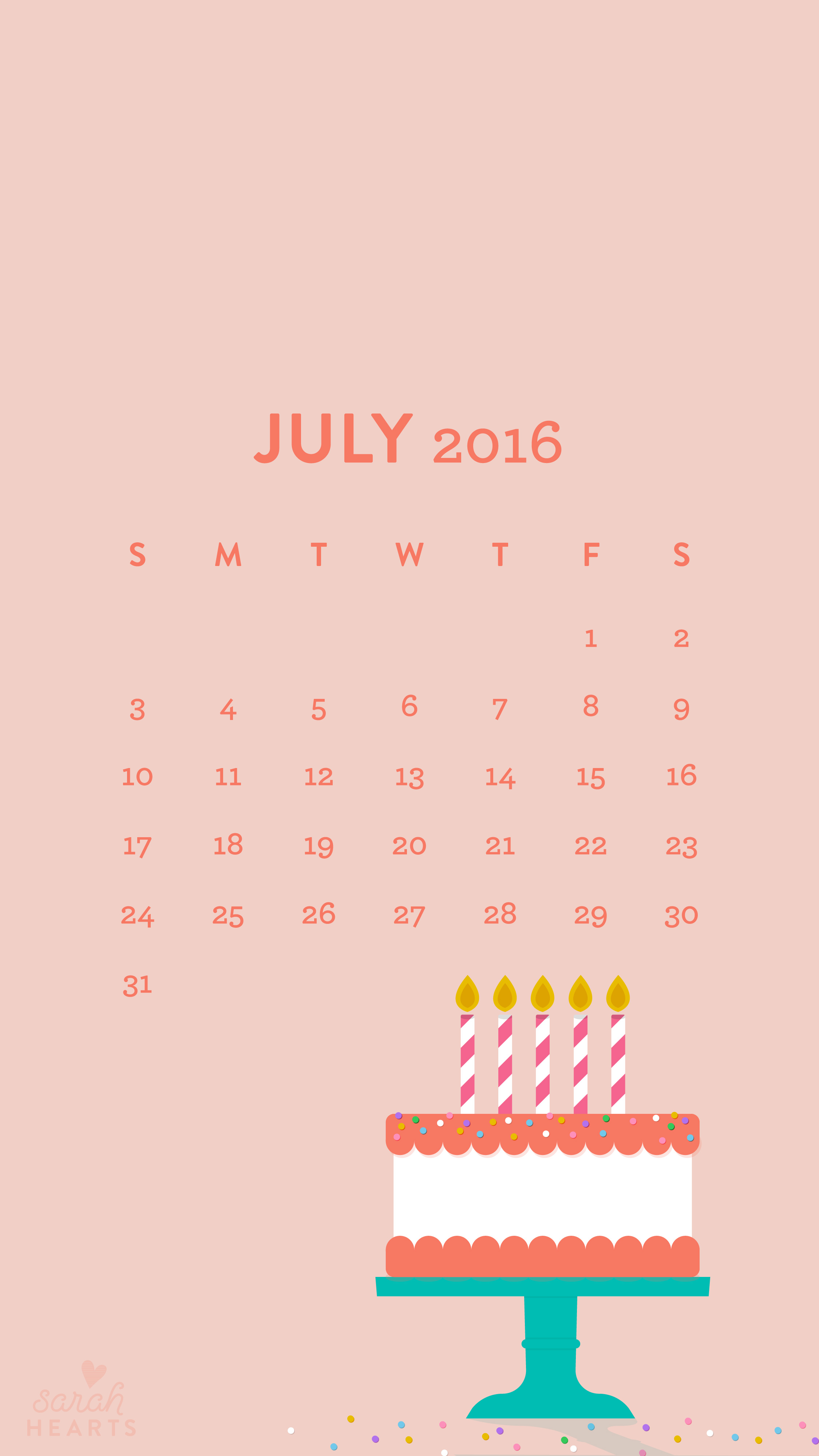 Cute Brand Wallpapers July 2016 Birthday Cake Calendar Wallpaper Sarah Hearts