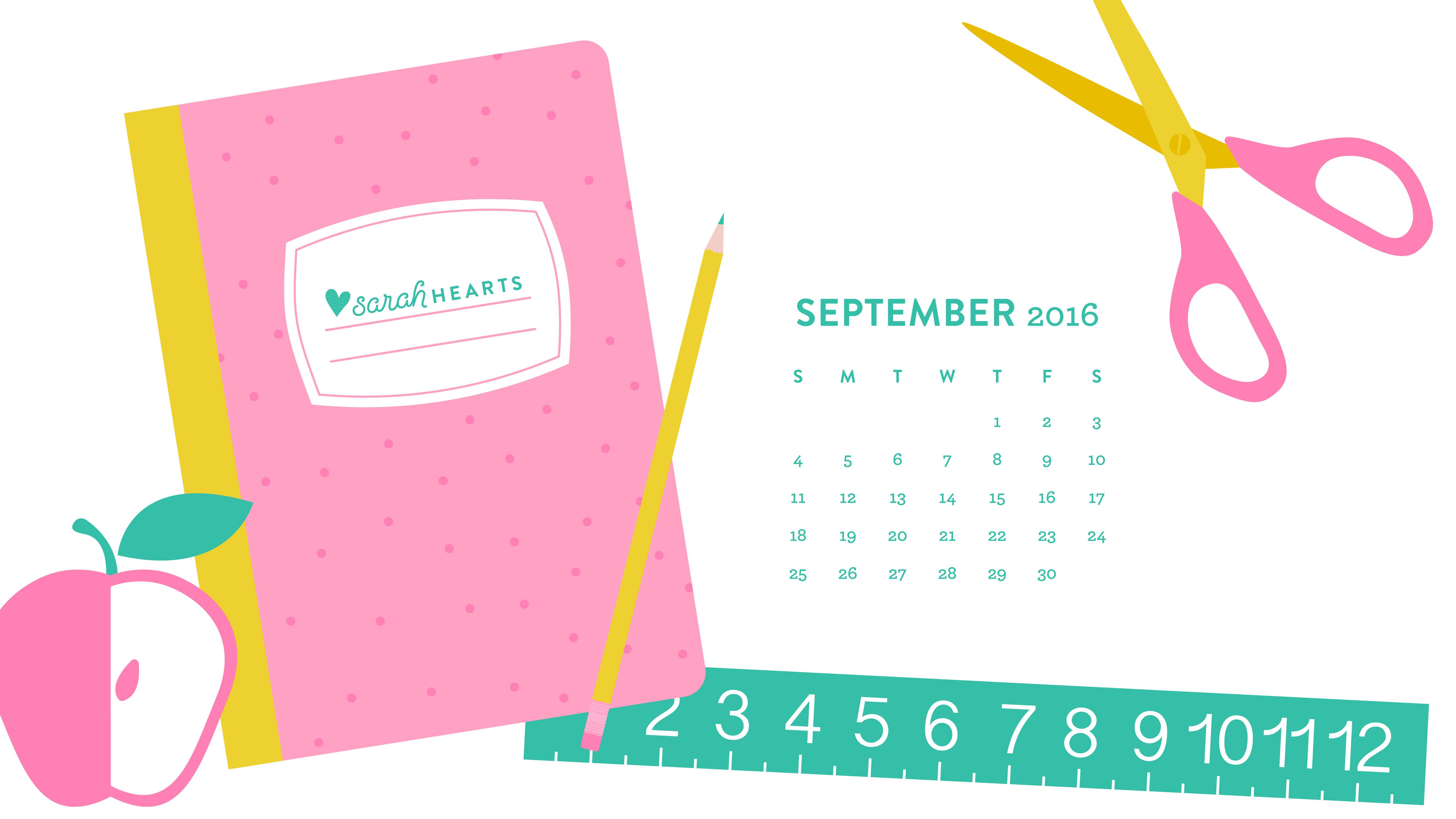 Cute Designs Full Page Wallpapers September 2016 Back To School Calendar Wallpaper Sarah