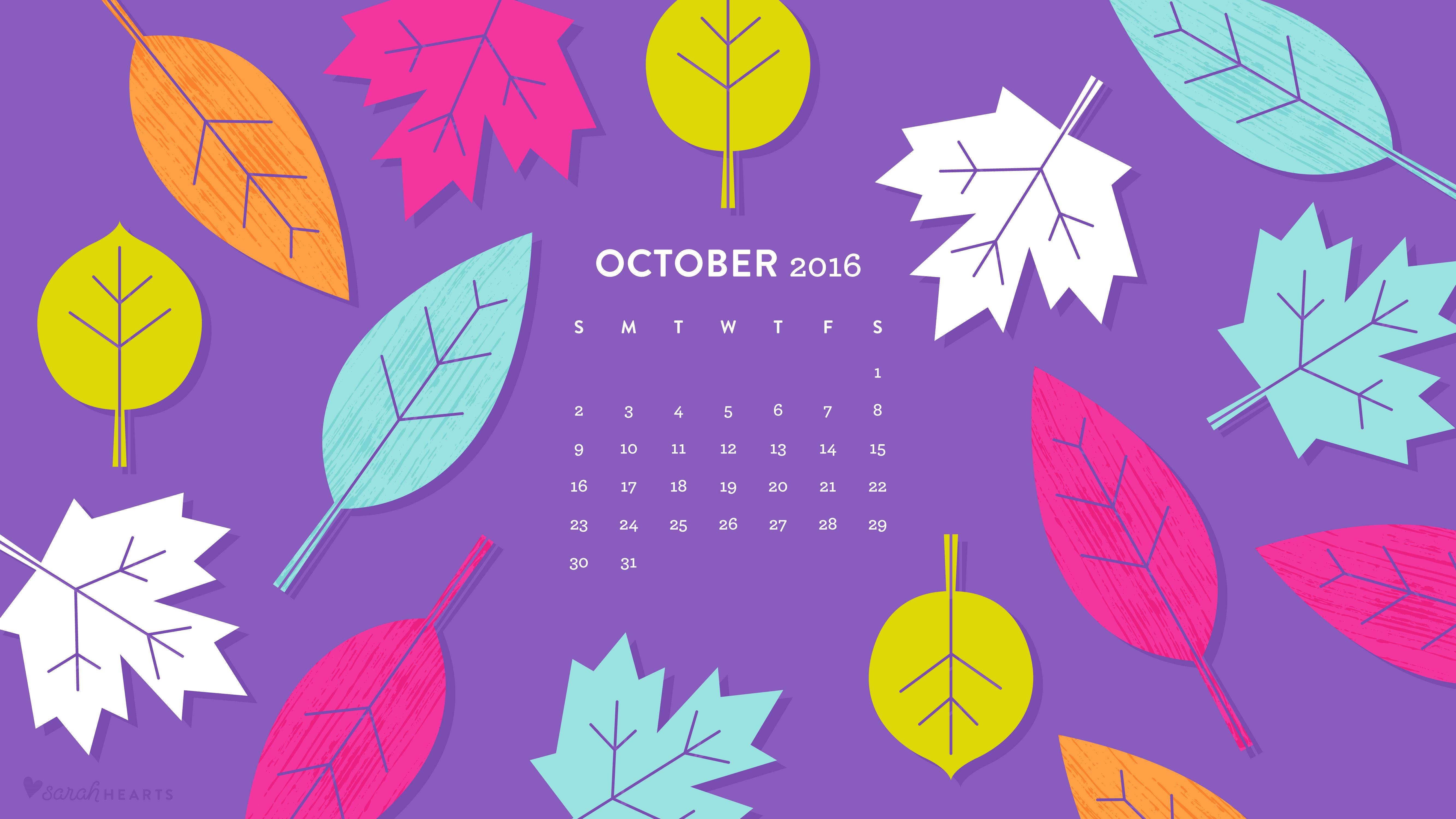 Fall Wallpaper For Computer Screen October 2016 Fall Leaves Calendar Wallpapers Sarah Hearts