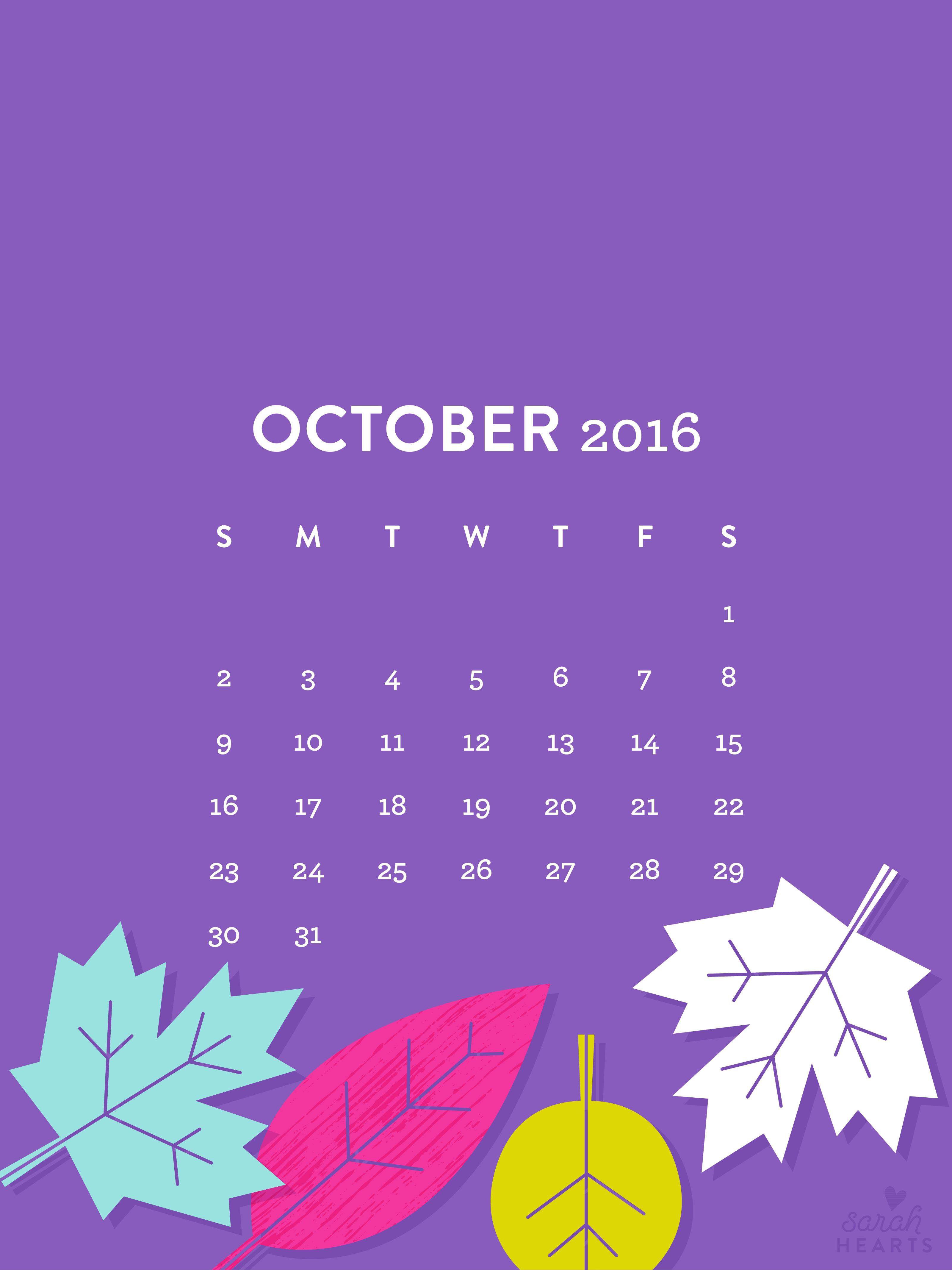 Nove Ber Fall Wallpaper For Computer October 2016 Fall Leaves Calendar Wallpapers Sarah Hearts