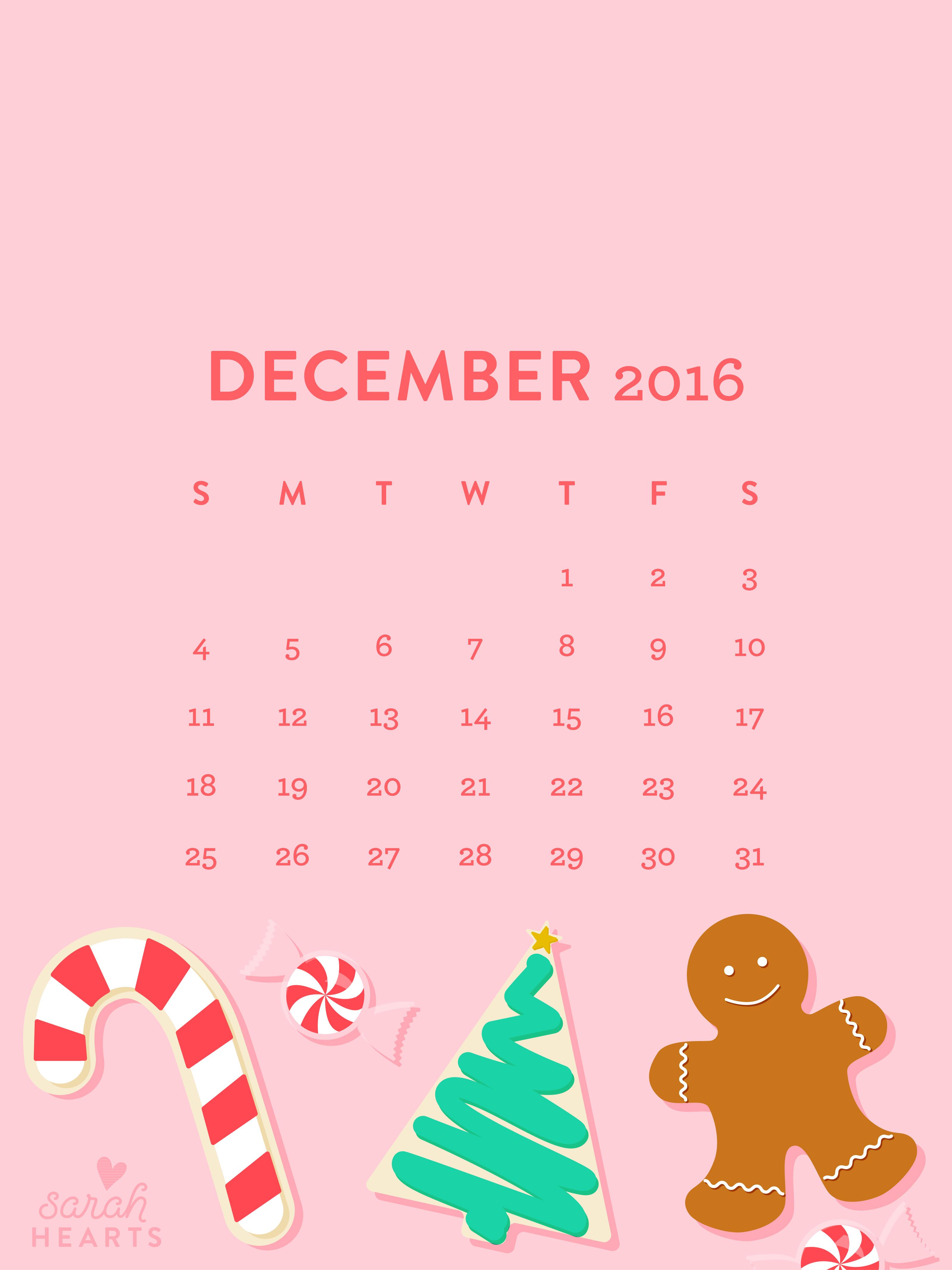 Cute Iphone Christmas Wallpapers December 2016 Christmas Cookie Calendar Wallpaper Sarah