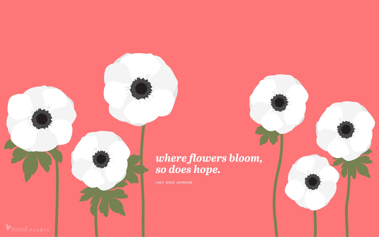 Pretty Iphone Wallpaper Quotes White Anemones April 2017 Calendar Wallpaper Sarah Hearts