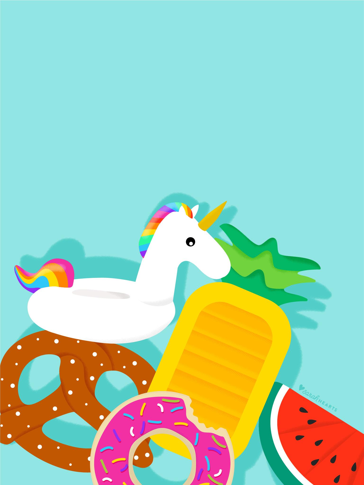 Cute Unicorn Iphone Wallpaper June 2017 Pool Float Calendar Wallpaper Sarah Hearts