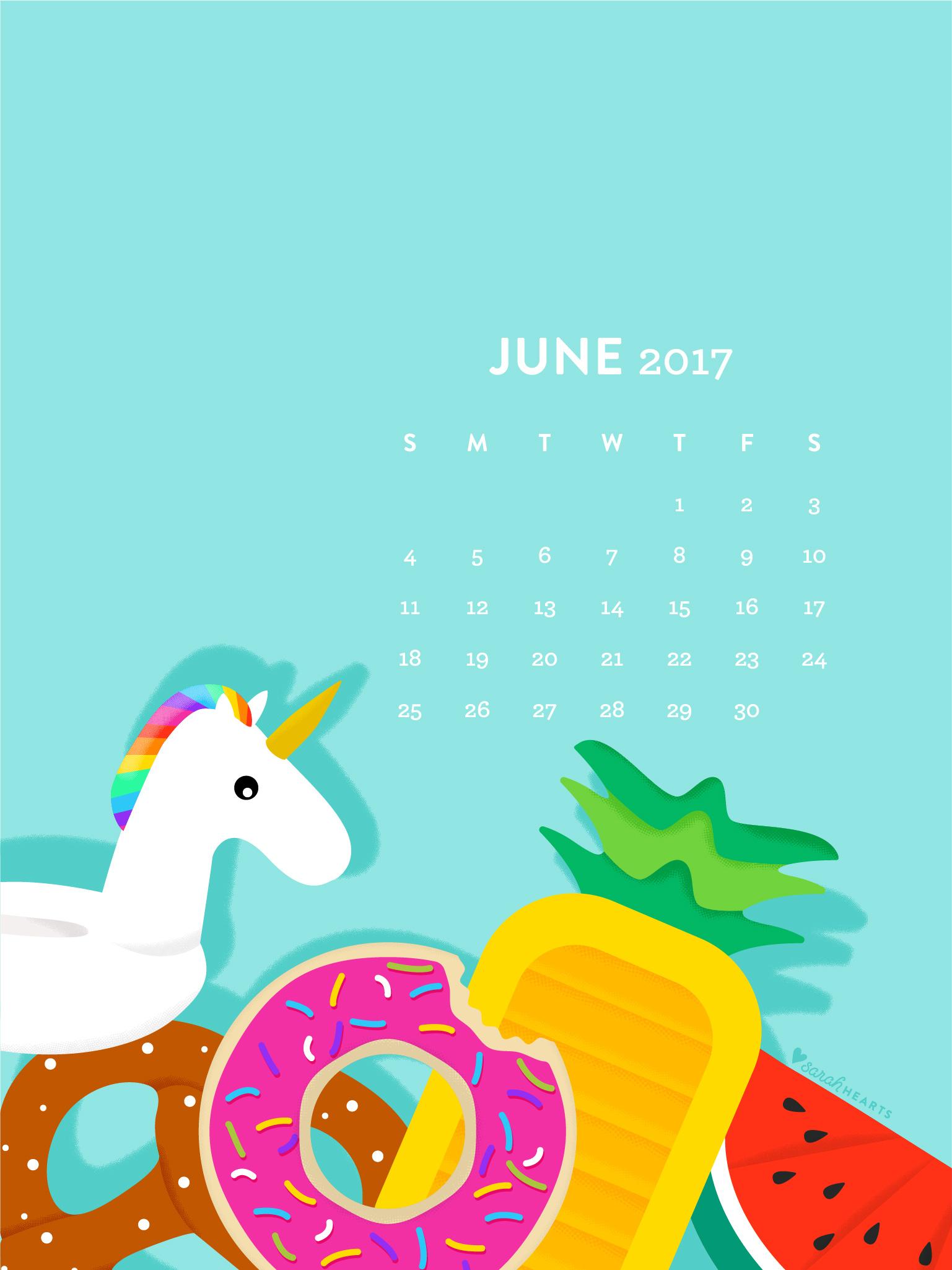 Donut Wallpaper Cute June 2017 Pool Float Calendar Wallpaper Sarah Hearts