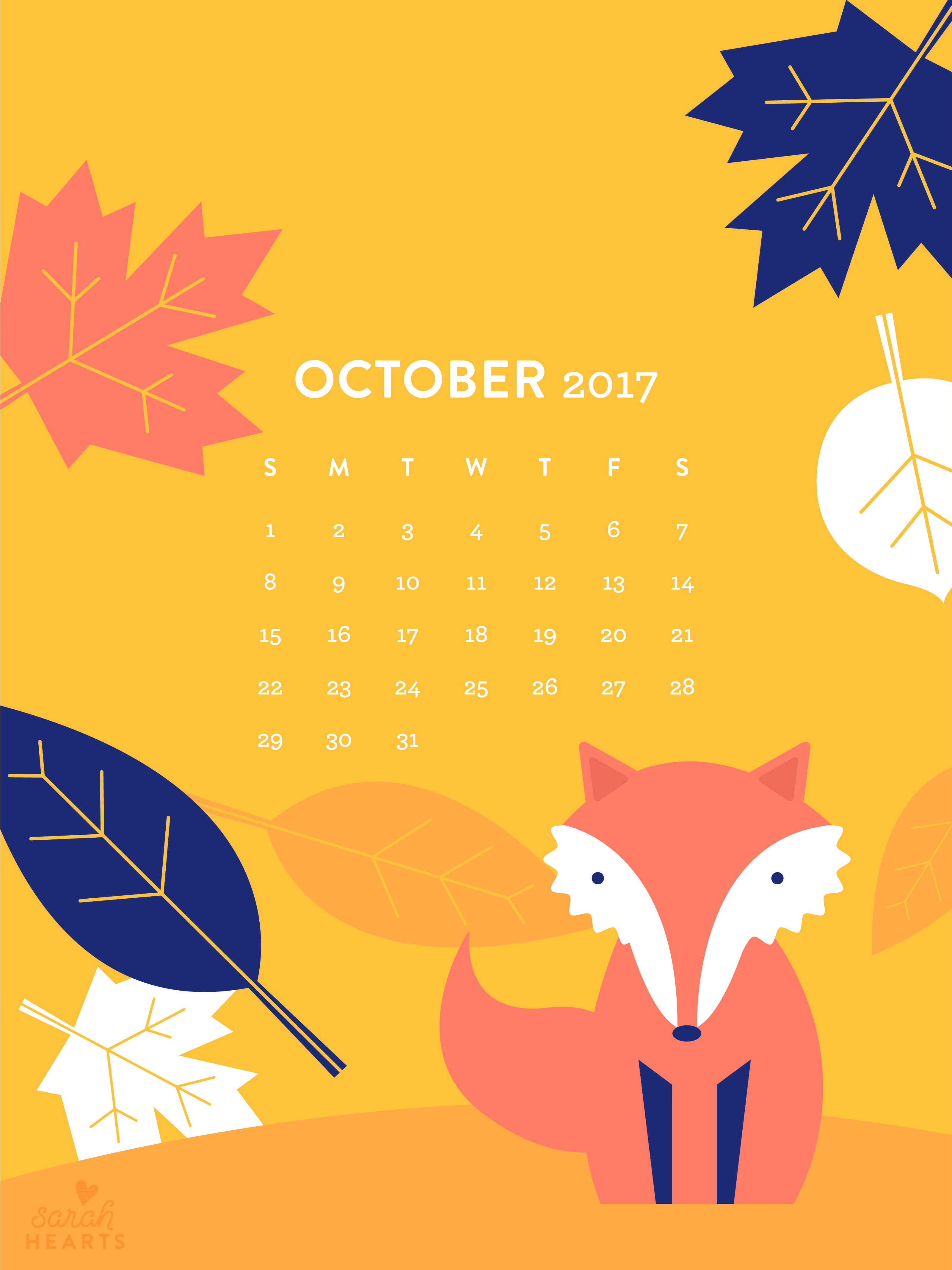 Fall Vector Wallpaper Fall Leaf And Fox October 2017 Calendar Wallpaper Sarah