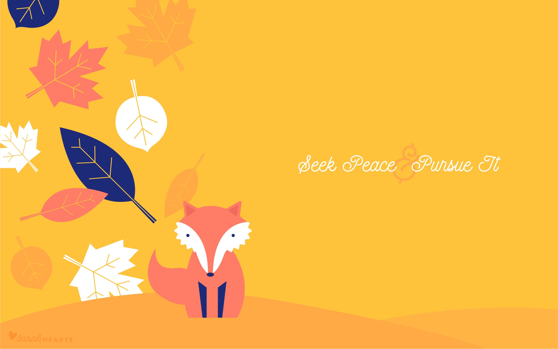 Fall Leaf Iphone Wallpaper Fall Leaf And Fox October 2017 Calendar Wallpaper Sarah