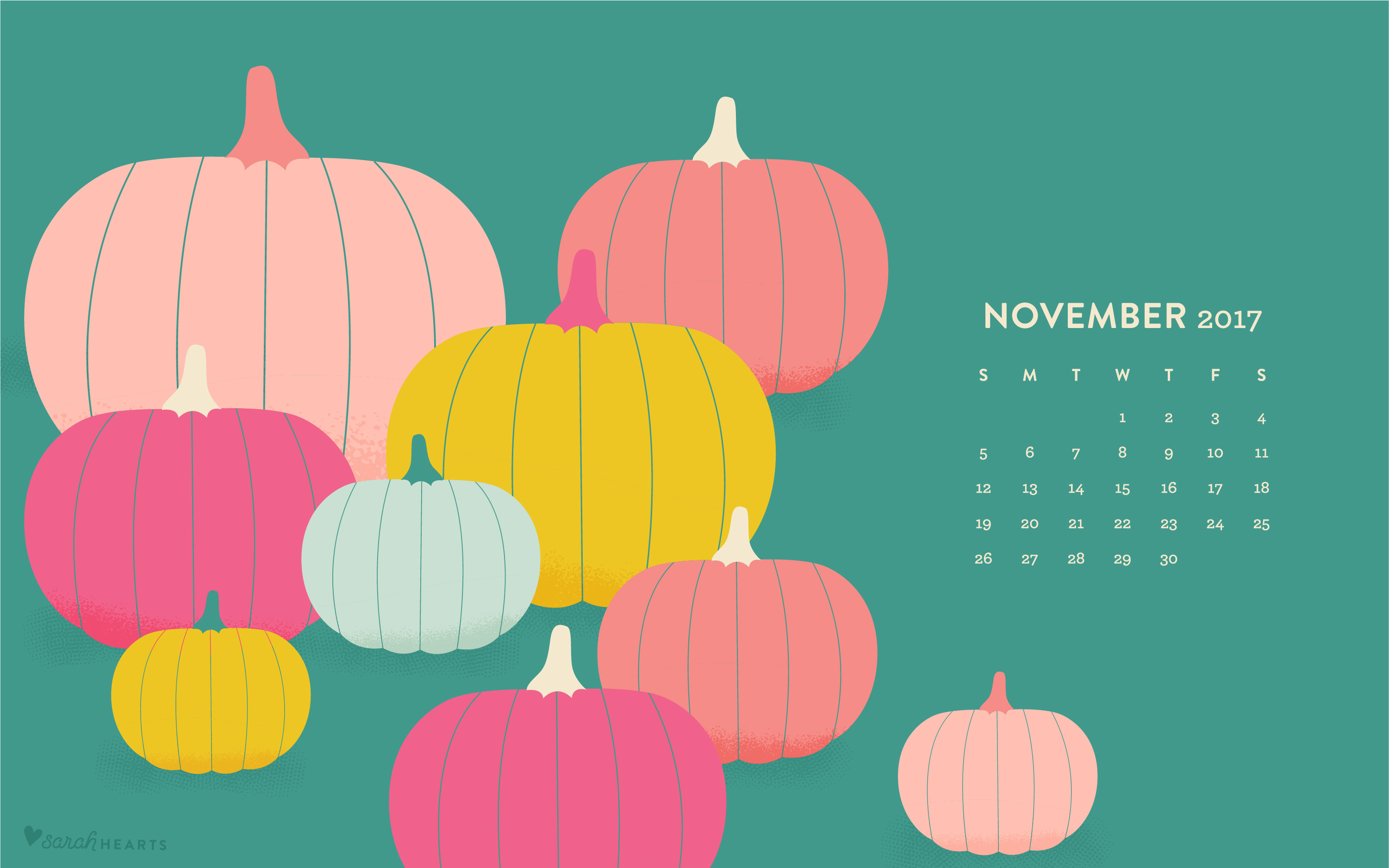 Pink Fall Quote Wallpaper November 2017 Pumpkin Calendar Wallpaper Sarah Hearts