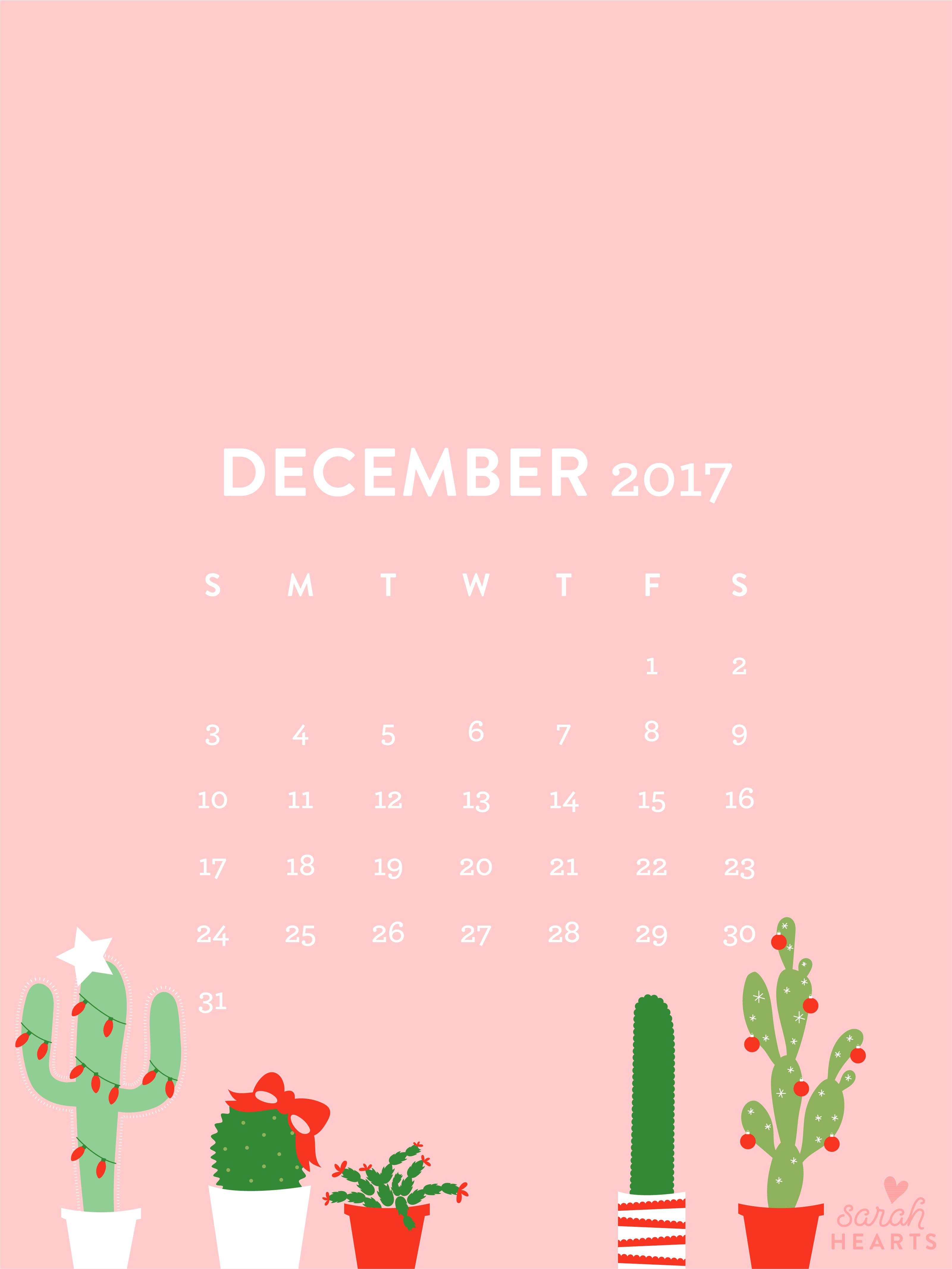 Cute Cactus Wallpaper Macbook December 2017 Christmas Cactus Calendar Wallpaper Sarah