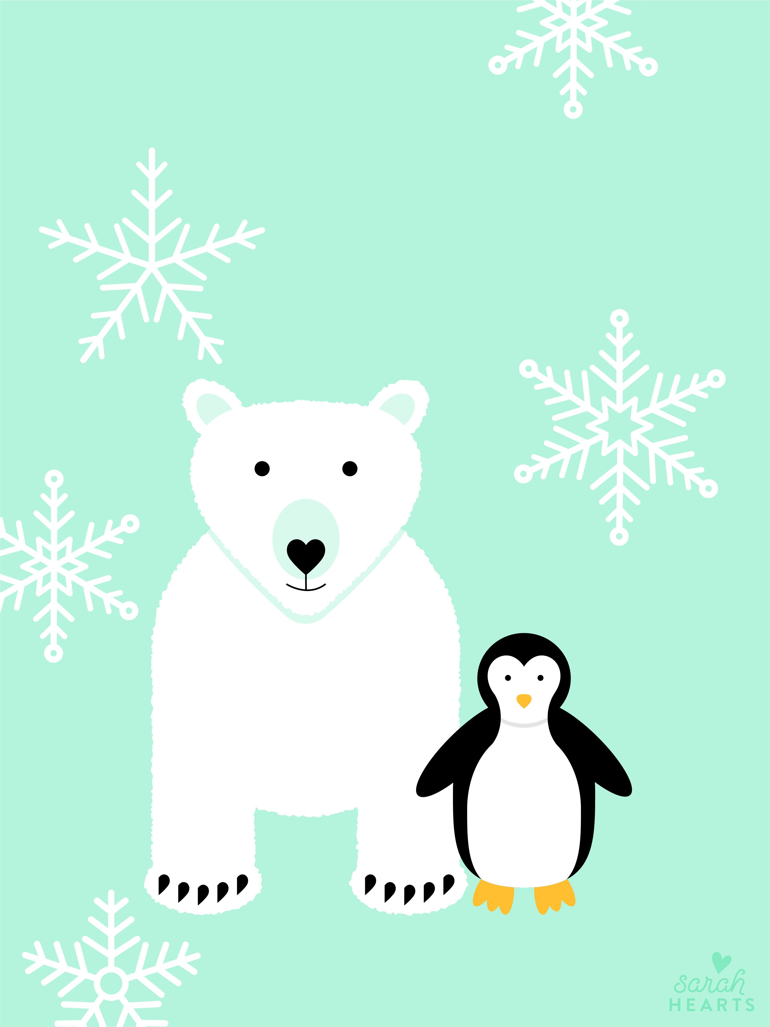 Graphic Designer Quote Wallpaper Polar Bear And Penguin January 2018 Calendar Wallpaper
