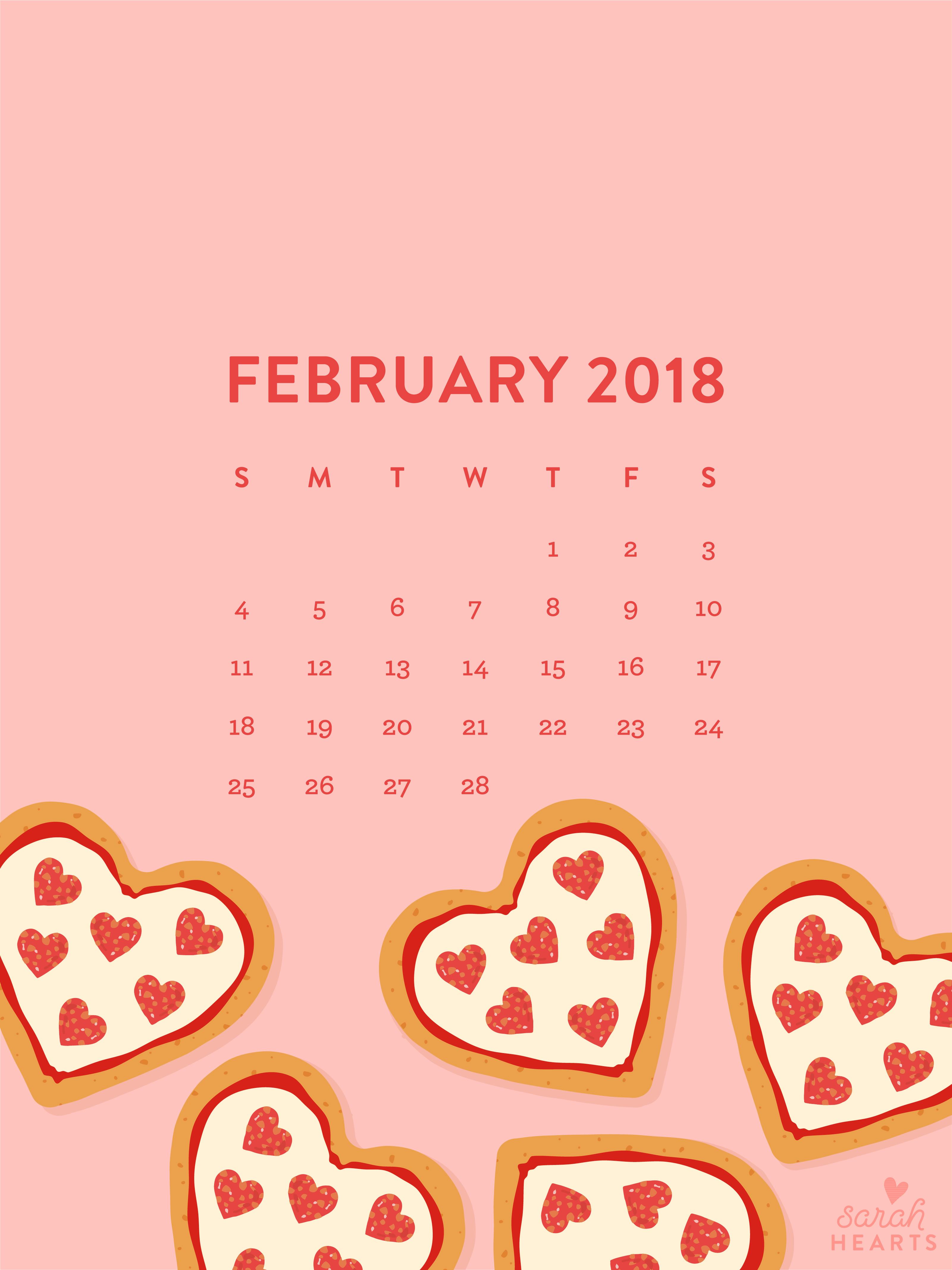 Pizza Wallpaper Cute Heart Shaped Pizza February 2018 Calendar Wallpaper
