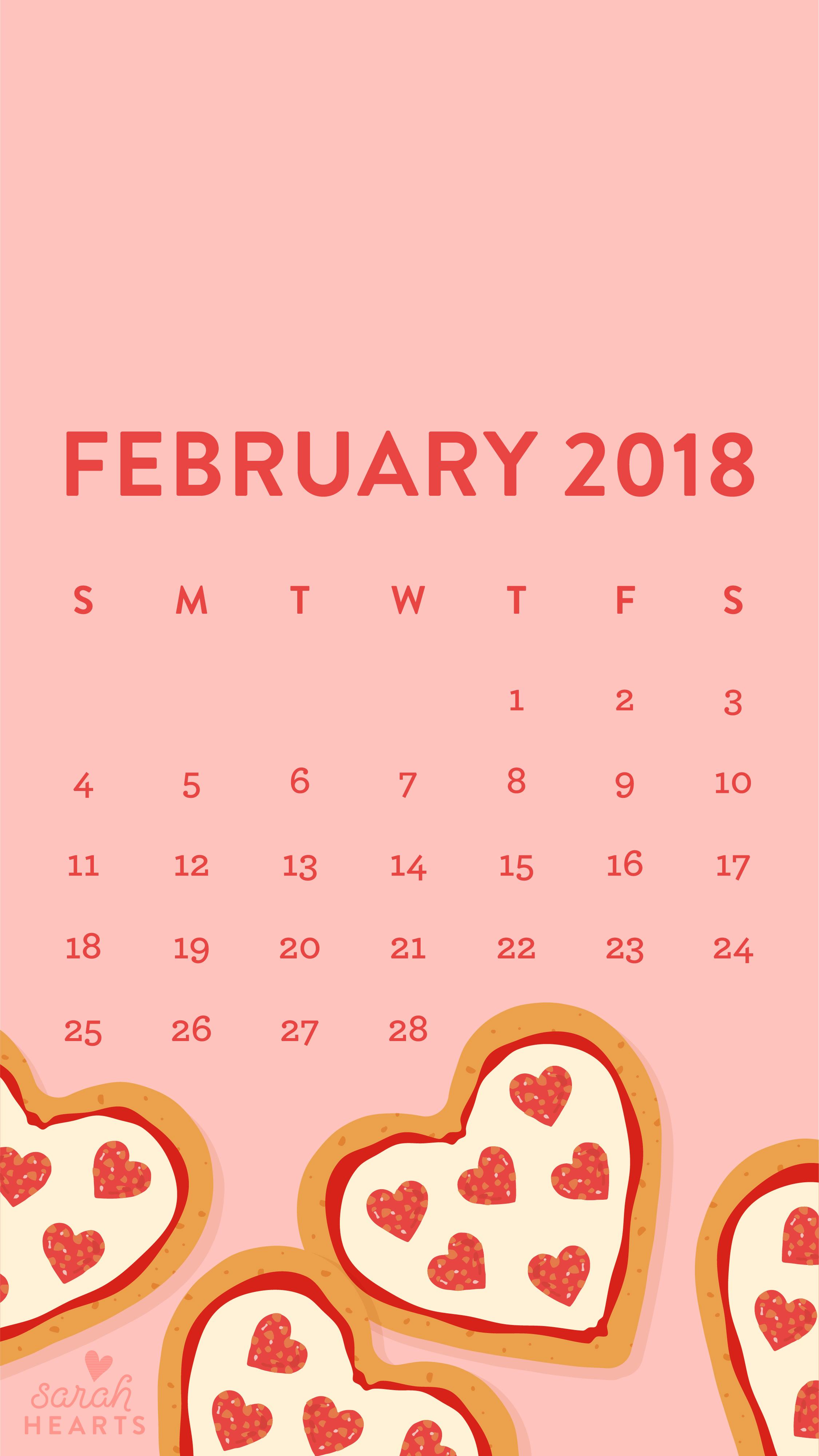 Cute Apple Watch Wallpaper Heart Shaped Pizza February 2018 Calendar Wallpaper