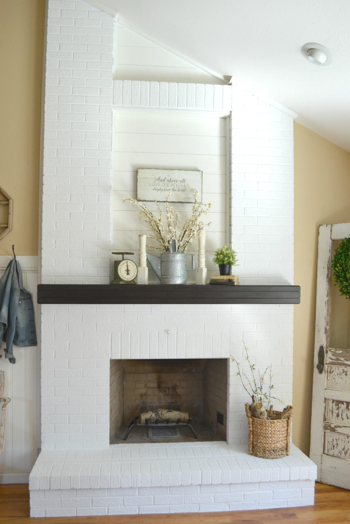 Update Old Brick Fireplace How To Paint A Brick Fireplace Sarah Joy Blog