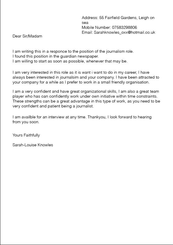 artist cover letter - Letter