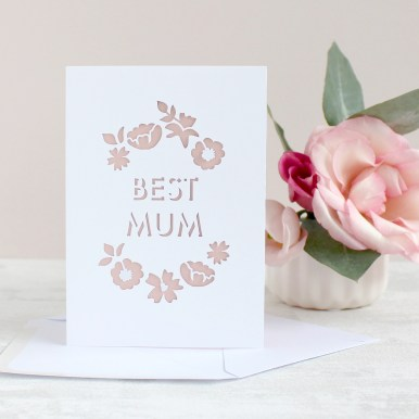 Papercut Best Mum Floral Mothers Day Card