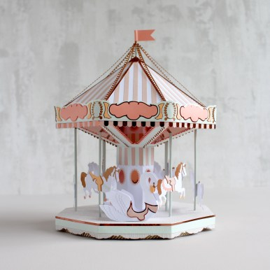 Sarah Louise Matthews 3D Paper Engineered Pastel Carousel
