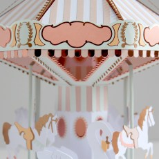 Sarah Louise Matthews 3D Paper Engineered Pastel Carousel Horses