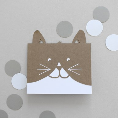 Paper cut Cat Greetings Card