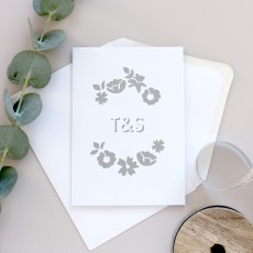 Personalised Papercut Floral Wedding Card with Initials