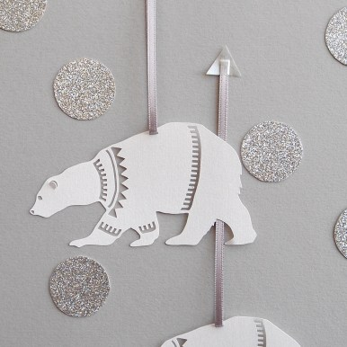 Papercut Polar Bear Illustration Christmas Decoration