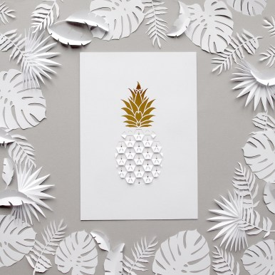 Sarah Louise Matthews Kirigami Cut and Folded Pineapple Paper cut with papercut Tropical Paper Leaves