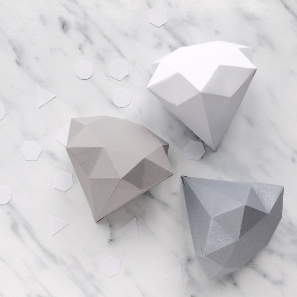 3D Folded Paper Diamonds