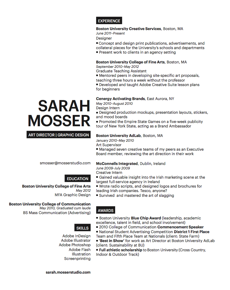 Image result for graphic design student resume minimalist Resume - art director resume