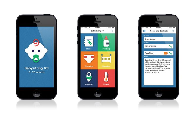 Babysitting 101 mobile app UI design Sarah Petersen