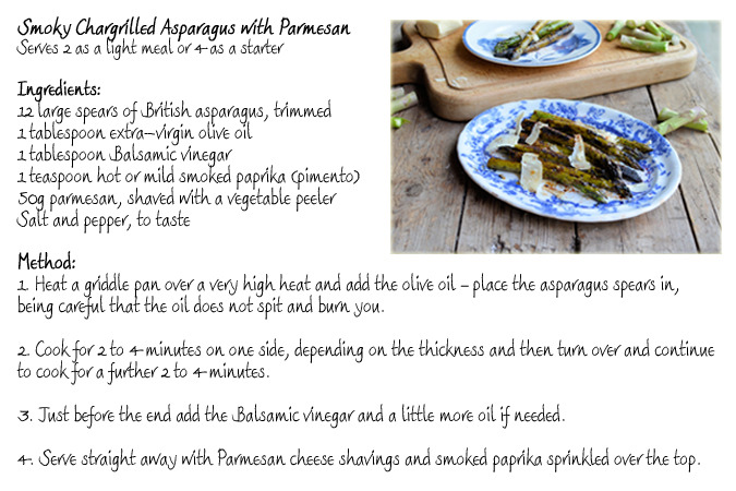 Smoky Chargrilled Asparagus with Parmesan - A Recipe Card, from - recipe card