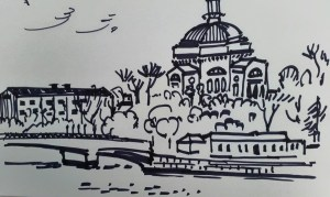 Sketch of church in Stockholm