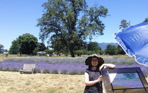 Sara Kahn painting in the Lavender Field July 2014