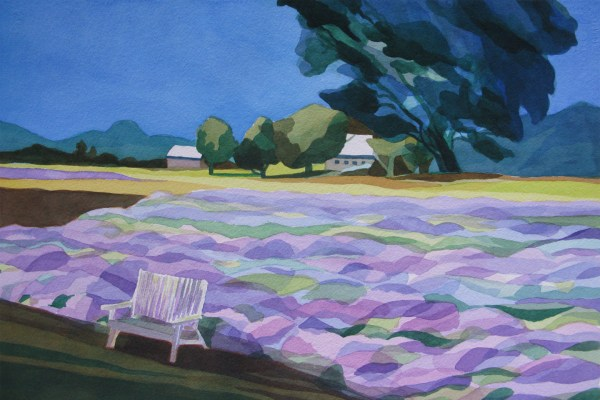 Applegate Lavender Farm.  Medford, Oregon. July 2014. Analytic Transparent Watercolor. Honorable mention, Oregon Lavender Festival Plein Air Paint out 2014