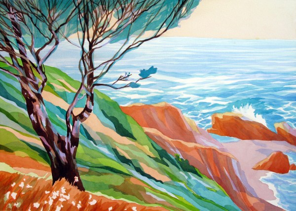 Ocean Cliffs, Analytic Transparent Watercolor by Sara Kahn, Shelter Cove, California. October 2014, Second place award for watercolor at Lost Coast Plein air paint out event 2014