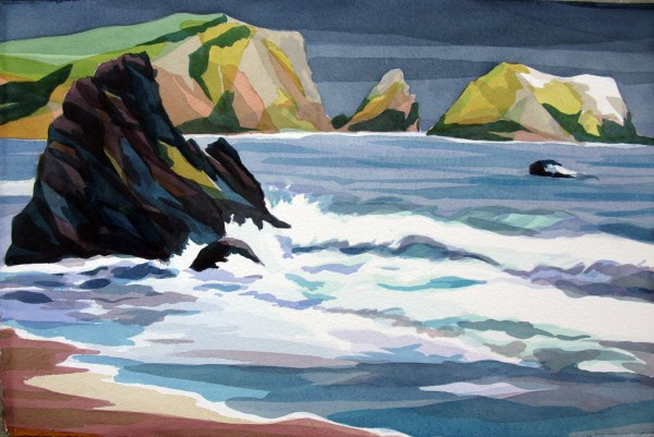 Rodeo Beach, Analytic Transparent Watercolor by Sara Kahn, July 2014, San Francisco California