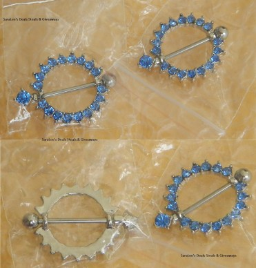 Raphycool 316L Surgical Steel 14G Blue Gem Paved Circle Nipple Shield Cover Rings Body Piercing Bar Sold as Pair