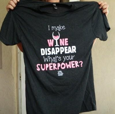 HouseVines Wine Shirt, SuperPower Women's Eco Friendly Printed Black T Shirt