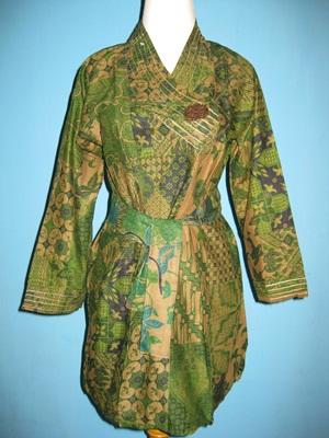 Baju Batik Lengan Panjang All Size Yang Dapat Dipakai Sebagai Dress