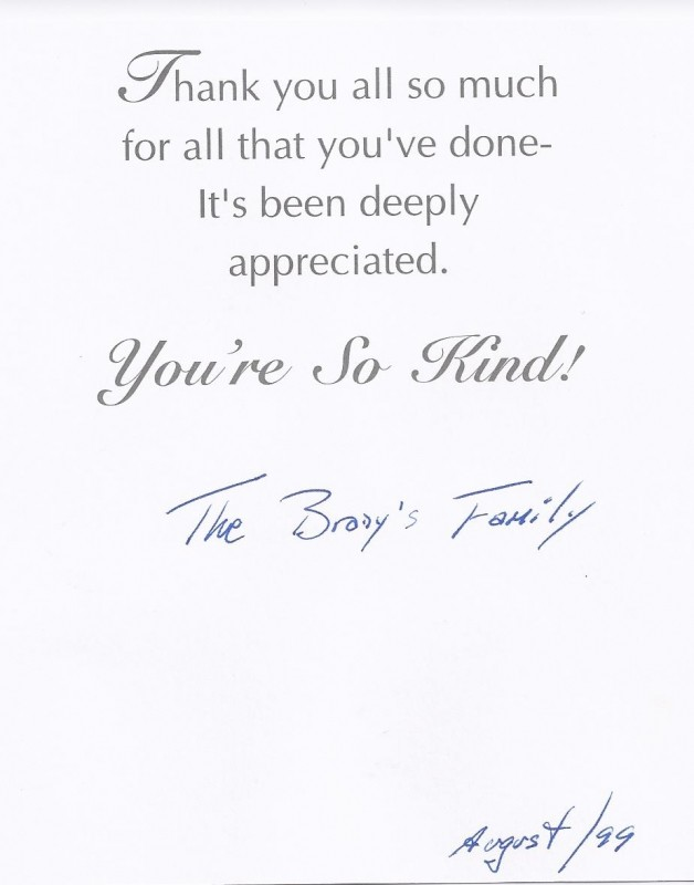 Thank-you-note-The-Brodys-Family - Sarasota Children\u0027s Clinic